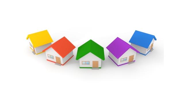 カラフルな家のオブジェのイメージ