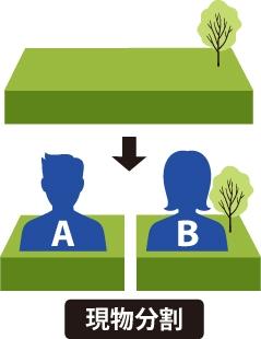 現物分割:土地であれば分筆をしてそれぞれの持ち分に応じて分けることになる事を表した図