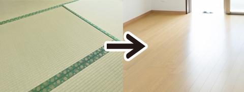 畳からフローリングに改築イメージ